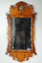 English Queen Anne Walnut Gilt Shell Carved Mirror