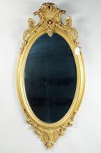 Continental Carved Giltwood Oval Mirror