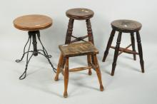 Four Small Vintage Stools