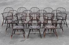 Set Twelve Replica Sackback Windsor Armchairs