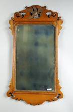 Chippendale Style Tiger Maple Mirror