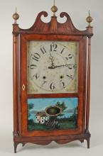 Mahogany Veneered Pillar & Scroll Clock