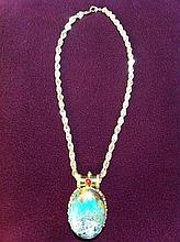 Necklace with large turquoise pendant