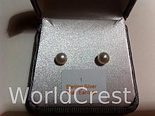 Sterling Silver Pearl Earrings-R-#1