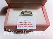 Sterling Silver Diamond Ring-R-#6