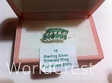 Sterling Silver Emerald Ring-R-#16