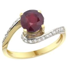 Natural 1.29 ctw ruby & Diamond Engagement Ring 14K Yellow Gold - SC#D312723Y14 - REF#V40T2