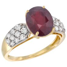 Natural 3.99 ctw ruby & Diamond Engagement Ring 14K Yellow Gold - SC#R289771Y14 - REF#F48X1