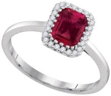 14K White Gold Jewelry 1.2 ctw Ruby & Diamond Ladies Ring - GD#94715 - REF#G102V1