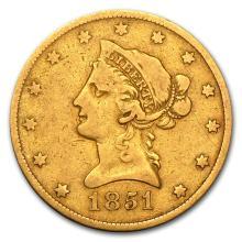 One 1851-O $10 Liberty Gold Eagle Fine - WJA87661