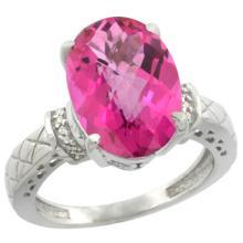 Natural 5.53 ctw Pink-topaz & Diamond Engagement Ring 14K White Gold - SC#CW406200 - REF#K45M2