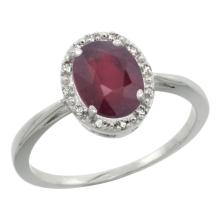 Natural 1.52 ctw Ruby & Diamond Engagement Ring 10K White Gold - SC#CW914101 - REF#K16M1