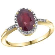 Natural 1.5 ctw Ruby & Diamond Engagement Ring 14K Yellow Gold - SC#CY451113 - REF#F28X2