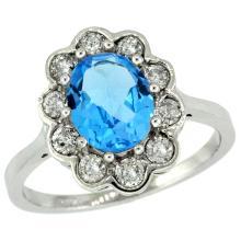 Natural 2.34 ctw Swiss-blue-topaz & Diamond Engagement Ring 14K White Gold - SC#C319661W04 - REF#Y61H6