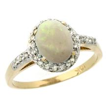 Natural 0.83 ctw Opal & Diamond Engagement Ring 14K Yellow Gold - SC#CY420137 - REF#K24M1
