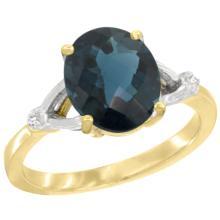 Natural 2.41 ctw London-blue-topaz & Diamond Engagement Ring 10K Yellow Gold - SC#CY905112 - REF#K19M2
