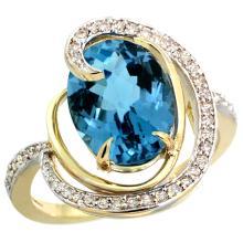 Natural 6.53 ctw london-blue-topaz & Diamond Engagement Ring 14K Yellow Gold - SC#R289231Y05 - REF#V56T5