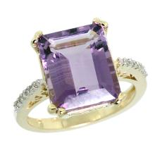Natural 5.48 ctw amethyst & Diamond Engagement Ring 10K Yellow Gold - SC#CY901141 - REF#W29N9