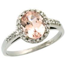 Natural 1.24 ctw Morganite & Diamond Engagement Ring 10K White Gold - SC#CW913137 - REF#K23M8