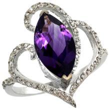 Natural 3.33 ctw Amethyst & Diamond Engagement Ring 14K White Gold - SC#R275571W01 - REF#F58X6
