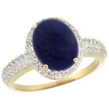 Natural 2.56 ctw Lapis & Diamond Engagement Ring 14K Yellow Gold - SC#CY446138 - REF#F30X1