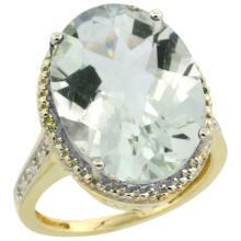 Natural 13.6 ctw Green-amethyst & Diamond Engagement Ring 14K Yellow Gold - SC#CY402108 - REF#K57M1