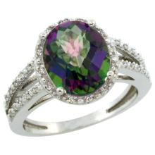 Natural 3.47 ctw Mystic-topaz & Diamond Engagement Ring 14K White Gold - SC#CW408106 - REF#F34X8