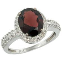 Natural 2.56 ctw Garnet & Diamond Engagement Ring 10K White Gold - SC#CW910138 - REF#W27N1