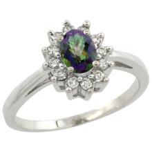 Natural 0.67 ctw Mystic-topaz & Diamond Engagement Ring 14K White Gold - SC#CW408103 - REF#Y36H5
