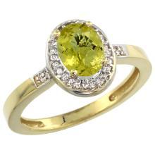 Natural 1.08 ctw Lemon-quartz & Diamond Engagement Ring 14K Yellow Gold - SC#CY427150 - REF#Y23H4
