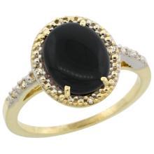 Natural 1.57 ctw Onyx & Diamond Engagement Ring 14K Yellow Gold - SC#CY417111 - REF#K24M5