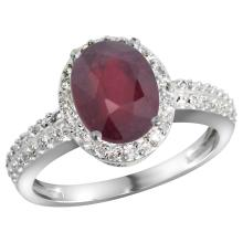 Natural 2.3 ctw Ruby & Diamond Engagement Ring 10K White Gold - SC#CW951139 - REF#F41X8