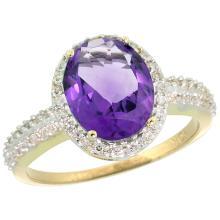 Natural 2.56 ctw Amethyst & Diamond Engagement Ring 14K Yellow Gold - SC#CY401138 - REF#K31M7