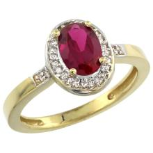 Natural 0.99 ctw ruby & Diamond Engagement Ring 10K Yellow Gold - SC#CY914B150 - REF#V28T8