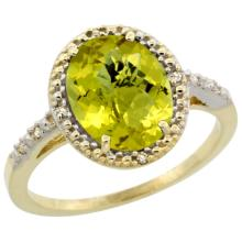Natural 2.42 ctw Lemon-quartz & Diamond Engagement Ring 10K Yellow Gold - SC#CY927111 - REF#V18T6