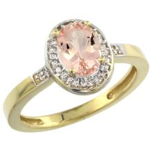 Natural 0.75 ctw Morganite & Diamond Engagement Ring 10K Yellow Gold - SC#CY913150 - REF#V20T8