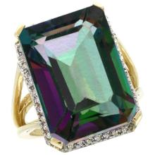 Natural 15.06 ctw Mystic-topaz & Diamond Engagement Ring 14K Yellow Gold - SC#CY408133 - REF#V61T9