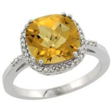 Natural 4.11 ctw Whisky-quartz & Diamond Engagement Ring 14K White Gold - SC#CW426121 - REF#Y32H4