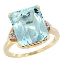 Natural 5.44 ctw aquamarine & Diamond Engagement Ring 10K Yellow Gold - SC#CY912177 - REF#W48N7