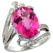 Natural 5.76 ctw pink-topaz & Diamond Engagement Ring 14K White Gold - SC#R309911W06 - REF#K70M1