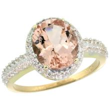 Natural 2.56 ctw Morganite & Diamond Engagement Ring 10K Yellow Gold - SC#CY913138 - REF#K42M8
