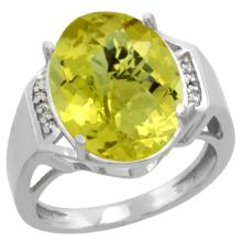 Natural 11.02 ctw Lemon-quartz & Diamond Engagement Ring 10K White Gold - SC#CW927131 - REF#K33M8