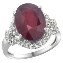 Natural 6.41 ctw ruby & Diamond Engagement Ring 14K White Gold - SC#R275011W14 - REF#V72T8