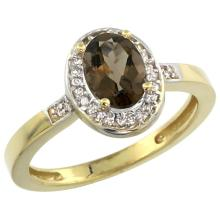 Natural 1.08 ctw Smoky-topaz & Diamond Engagement Ring 14K Yellow Gold - SC#CY407150 - REF#V23T6