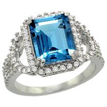 Natural 3.08 ctw swiss-blue-topaz & Diamond Engagement Ring 14K White Gold - SC#R292071W04 - REF#K80M3