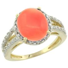 Natural 3.42 ctw Coral & Diamond Engagement Ring 10K Yellow Gold - SC#CY945106 - REF#F26X5