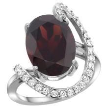 Natural 6.91 ctw Garnet & Diamond Engagement Ring 14K White Gold - SC#R287971W10 - REF#K75M8