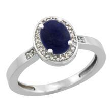 Natural 0.83 ctw Lapis & Diamond Engagement Ring 14K White Gold - SC#CW446150 - REF#W22N9