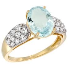 Natural 2.45 ctw aquamarine & Diamond Engagement Ring 14K Yellow Gold - SC#R289771Y12 - REF#F51X7