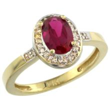 Natural 0.98 ctw Ruby & Diamond Engagement Ring 14K Yellow Gold - SC#CY414B150 - REF#Y34H1